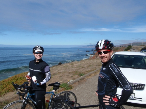 Alexis and Brett: Happy people on Highway One.